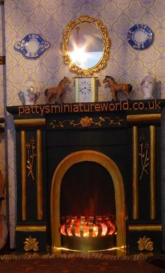how to: customizing a fire surround and making a miniature coal fire (+printable tile sheet)