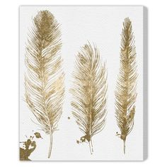 The Oliver Gal Gold Feathers canvas wall art adorns bedrooms and dining spaces with bohemian elegance. The metallic trio of plumes lays…