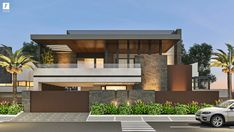 Elevation designed for client in South City, Ayali Khurd Flat Roof House Designs, House Outer Design, Modern Exterior House Designs, House Outside Design, Modern House Facades, Modern Villa Design, Bungalow House Design, House Front Design, Modern Architecture House