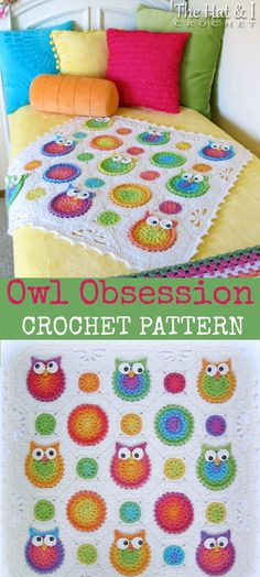 I love this owl crochet pattern. CROCHET PATTERN - Owl Obsession colorful owl afghan pattern - baby blanket. #pattern #crochet #blanket #ad