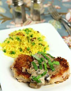 Pork Chops with Mushrooms and Bourbon Cream Sauce