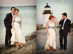 wedding portraits at a lighthouse on nantucket
