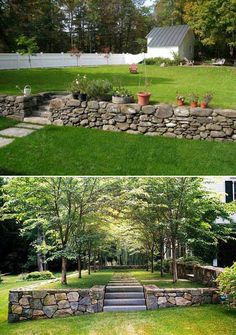 20 Inspiring Tips for Building a DIY Retaining Wall Retaining walls retain soil behind them and also add more space to your property by turning a sloped area of your garden into more useable, level land. A garden or yard retaining wall might be. Backyard Retaining Walls, Rock Retaining Wall, Building A Retaining Wall, Sloped Backyard Landscaping, Sloped Yard, Backyard Patio, Terraced Backyard, Landscaping Ideas, Circle Driveway Landscaping
