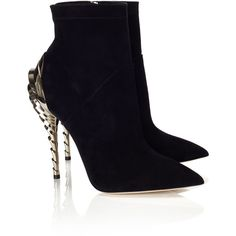 Paul Andrew Black Suede Chrysler Ankle Boots (690 AUD) ❤ liked on Polyvore featuring shoes, boots, ankle booties, heels, short black boots, black suede bootie, black booties, black suede booties and black high heel boots