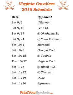 Printable Virginia Cavaliers Football Schedule 2016