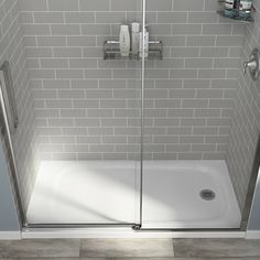 Bring a traditional deep design to your bathroom by choosing this beautiful American Standard Passage Glue-Up Alcove Wall in Grey Subway Tile. Master Shower Tile, Gray Shower Tile, Bathroom Tub Shower, Shower Niche, Master Bathroom, Bathroom Ideas, Shower Wall Kits, Shower Wall Panels, Small Shower Stalls