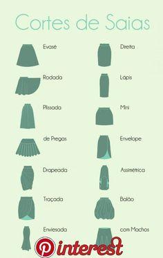 Skirts Types Skirt Fashion Fashion News Women's Fashion Fashion Dresses Fashion Design Look Do Dia Dress Patterns Sewing Patterns Skirt Fashion, Diy Fashion, Ideias Fashion, Fashion Dresses, Fashion Tips, Fashion Infographic, Fashion Dictionary, Fashion Vocabulary, Shoulder Hair