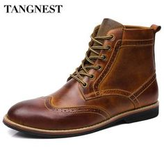 Tebapi Mens Backpacking Boots Mans Manual Suture Cut-Outs Ankle Boots Men Handmade Pu Leather Shoes Men Winter Lace up Side Zip Fashion Boots Xmx649