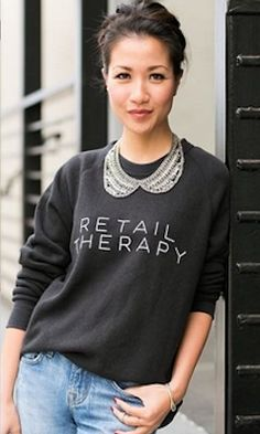 Loving this 'Retail Therapy' sweatshirt Nyc Fashion, Fashion Trends, Fashion Inspiration, Fashion Ideas, Pretty Outfits, Cute Outfits, Pretty Clothes, Buy My Clothes, Wendy's Lookbook