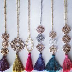 Jewelry Necklace Filigree Metal Lace Silk Tassel Necklace - beaded chain choose your filigree style and tassel color Tassel Jewelry, Old Jewelry, Fabric Jewelry, Simple Jewelry, Jewelry Crafts, Beaded Jewelry, Jewelery, Handmade Jewelry, Jewelry Making