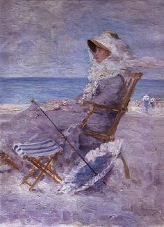 Nicolae Grigorescu, Am Meer 1880 Art Plage, Monet Paintings, Lavender Blue, Pierre Auguste Renoir, Manet, Am Meer, Claude Monet, Illustrations, Gustav Klimt