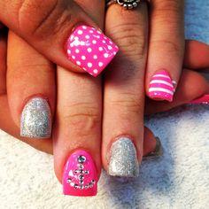 Pink anchor glitter acrylics