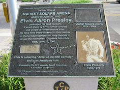 This is the historical marker for the former site of Elvis' last concert on June at the Market Square Arena located in Indianapolis, Indiana. The site is now a parking lot. Thankfully this marker is there, thanks to Elvis fan's Paul and Kay Lipps. Elvis Memorabilia, Elvis Presley Family, Always On My Mind, Lisa Marie Presley, After Life, Graceland, Rock N Roll, Videos, Finals