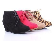 New Faux Suede Lace Up Girls Wedge High Heels Kids Ankle Boots Youth Size Shoes