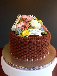 Spring Bloom Cake 3 layer white cake with chocolate buttercream in basket weave. Basket Weave Cake, Flower Basket Cake, Cake Cookies, Cupcakes, Cupcake Cakes, Buttercream Flower Cake, Chocolate Buttercream, Cupcake Recipes From Scratch, Cake Decorating Tutorials