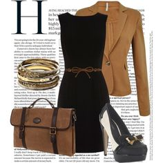 This outfit is perfect for a job interview it is classy and sophisticated yet it has a very independent feminine side to it! The purse can carry all your necessary things!