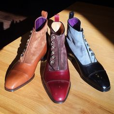 Button boots are ultra elegant and sophisticated. We're proud to offer a trio made for Leffot by Italian shoemaker Enzo Bonafe. On line at Leffot.com.   (at Leffot)