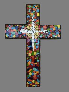 tile mirrors for the wall | Custom Mosaic China Tile Wall Cross by KateSutcliffeMosaics