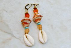 Boho Shell EarringsAfrican Earrings Shell by ZenCustomJewelry, $15.00