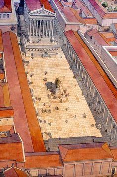 Forum Julium Architecture Antique, Roman Architecture, Cultural Architecture, Historical Architecture, Ancient Rome, Ancient Greece, Ancient Art, Ancient History, Roman History