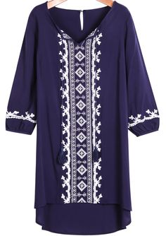 Shop Royal Blue V Neck Long Sleeve Embroidered Dress online. Sheinside offers Royal Blue V Neck Long Sleeve Embroidered Dress & more to fit your fashionable needs. Free Shipping Worldwide!