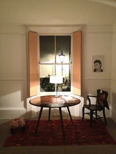 Beautiful table in big Victorian window. Margate apartment.