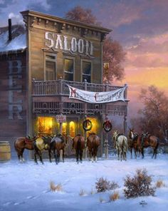 Old west saloon Saloon, Western Christmas, Country Christmas, Westerns, Western Film, Western Cowboy, Cowboy Town, Cowboy Horse, Christmas Scenes