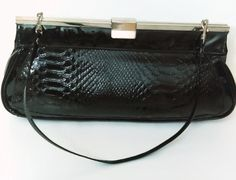 1960's black purse with handle by GenesisVintageShop on Etsy