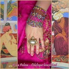 https://flic.kr/p/P3ywmA | Odalisque bracelet set | Hand made beaded stretch colorful bracelets ( 5 bracelets = 23 raws)