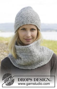 "Knitted DROPS hat and neck warmer with herringbone pattern in ""Cloud"" or ""Eskimo"". ~ DROPS Design"