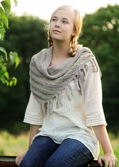 Eccentric and non-conforming, Lunatic Fringe is an off-kilter shawl that grows asymmetrically from the bottom up, and sprouts digit-like fringes on one side. Free Pattern