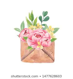 Find Watercolor Bouquet Peonies a Craft Envelope stock images in HD and millions of other royalty-free stock photos, illustrations and vectors in the Shutterstock collection. Thousands of new, high-quality pictures added every day. Vintage Floral Wallpapers, Spring Bouquet, Flower Boxes, Spring Crafts, Watercolor Illustration, Nursery Art, Watercolor Flowers, Peonies, Envelope