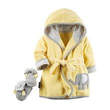 Carters Yellow Elephant Robe/Bootie Set