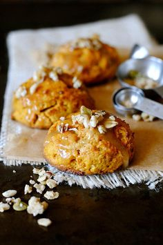 Pumpkin Cream Cheese Scones with Brown Sugar and Honey Glaze