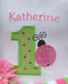 Custom Boutique Ladybug Birthday Applique t-shirt  - machine embroidered - personalized. $20.00, via Etsy.