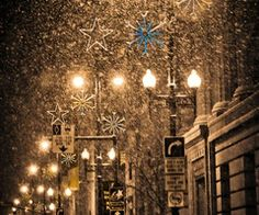 Snow and Christmas Lights on City Street, ... | ❇ ❈ ❄ Let It Snow ❆ …