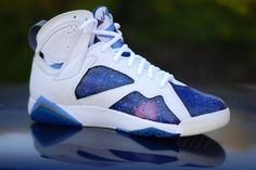 Air Jordan Retro 7 'Galaxy' Customs by Have Air Customs Sock Shoes, Cute Shoes, Me Too Shoes, Women's Shoes, Shoes Style, Shoe Boots, Shoes Sneakers, Custom Jordans, Custom Sneakers