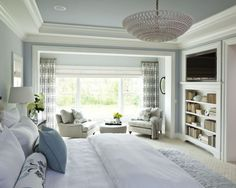 White And Grey Blue Master Suite Design, Pictures, Remodel, Decor and Ideas