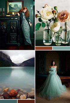 Like the dark feel, not necessarily the colors. Mood Board: Teal Mint Red Brown   *Lovely Clusters - The Pretty Blog www.lovelyclustersblog.com