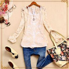 White Long Sleeve Crochet Embroidery T-Shirt