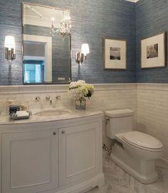 Powder Bathroom Remodel Powder Room Design Pictures Best Ideas On Half Bathroom Remodel Blue Wallpaper For Powder Bathroom Remodeling Ideas Bathroom Renos, Bathroom Flooring, Bathroom Interior, Bathroom Ideas, Bathroom Small, Bathroom Organization, Bathroom Marble, Bath Ideas, Master Bathroom