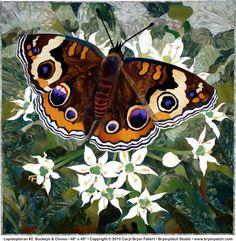 """Lepidopteran #2: Quilt Buckeye & Chives • 48"""" x 48"""" • Copyright © 2010 Caryl Bryer Fallert • Bryerpatch Studio • www.bryerpatch.com"""