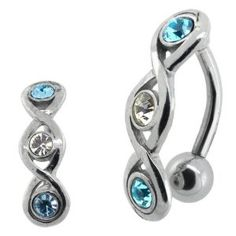 Aqua CZ Infinity Reverse Belly Button Ring (Jewelry)