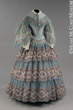 Dress  About 1854-1855, 19th century  Wool mousseline de laine, cotton lining, bone