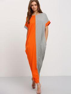 Vestido combinado bolsillos maxi -gris naranja-Spanish SheIn(Sheinside)