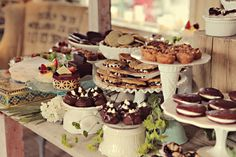 vintage multiple display dessert bar