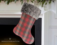 Fur Christmas Stocking, Fur Stocking, Fur Stockings, Faux Fur Christmas Stocking, Faux Fur Stocking, Plaid with Fur Christmas Stocking by MeredithRosePetal on Etsy https://www.etsy.com/listing/223266056/fur-christmas-stocking-fur-stocking-fur