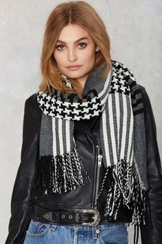 Lost and Houndstooth Fringe Scarf - Accessories | Scarves + Gloves