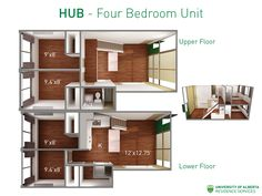 Floorplan with dimensions for four-bedroom unit in HUB residence at UAlberta. University Dorms, First Year Student, University Of Alberta, Student Living, Dorm Room, Home Art, Coffee Shop, Floor Plans, Room Decor
