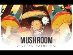 Digital Painting mushroom in photoshop Short Flim, Adobe Illustrator, Stuffed Mushrooms, Photoshop, Make It Yourself, Digital, Children, Drawings, Illustration